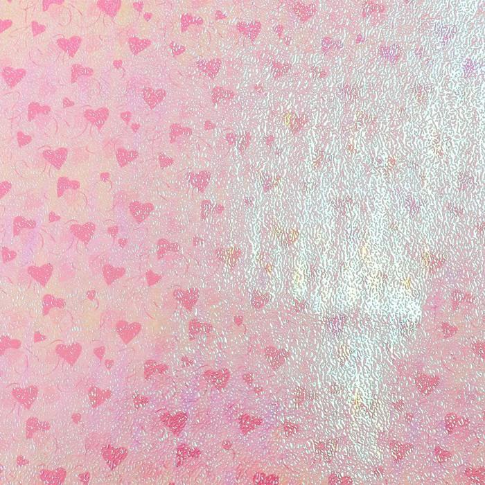 "Бумага упаковочная перламутровая ""Два сердца"", розовый, 50 х 70 см"
