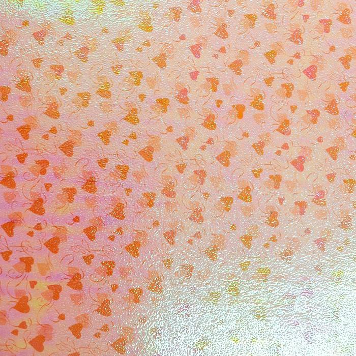 "Бумага упаковочная перламутровая ""Два сердца"", оранжевый, 50 х 70 см"