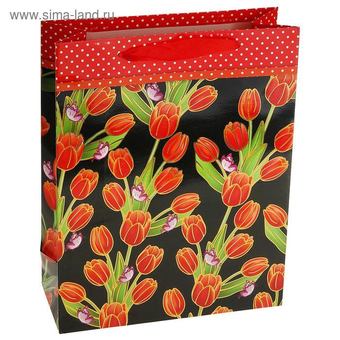 """Пакет ламинированный """"Роскошь цветов"""", цвет красный"""