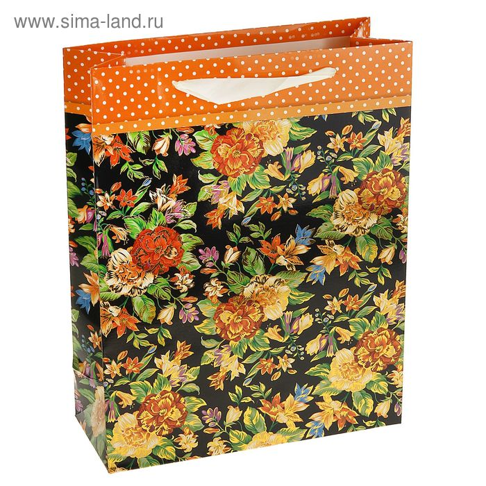 """Пакет ламинированный """"Роскошь цветов"""", цвет оранжевый"""