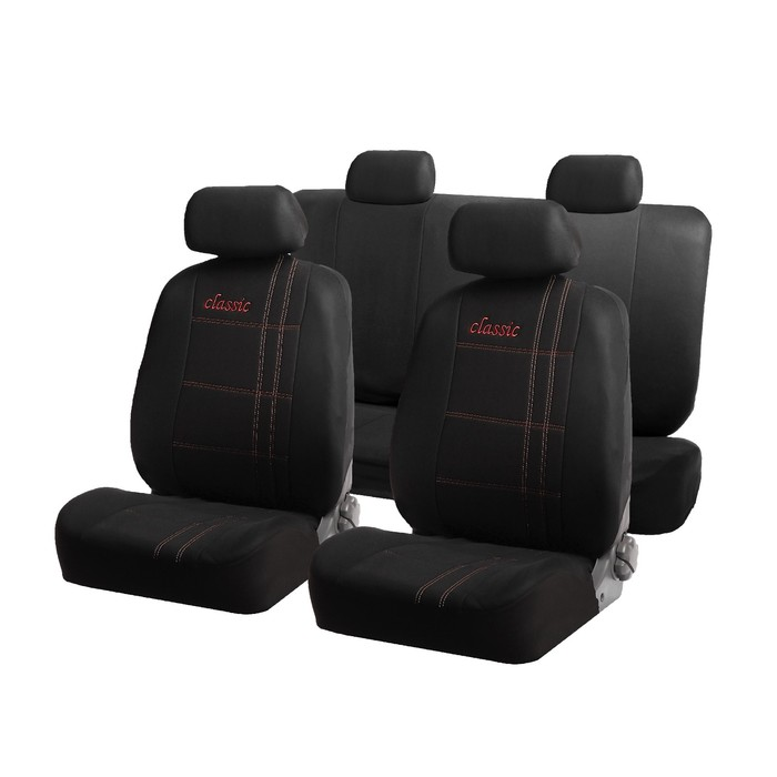 Авточехлы универсальные Classic, набор 10 предметов, черно-красные