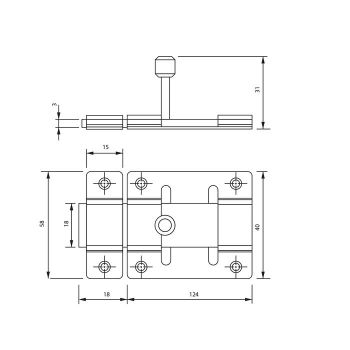 Задвижка дверная, 12.5 см, d=2.5 мм, плоская, оцинкованная, крашеная