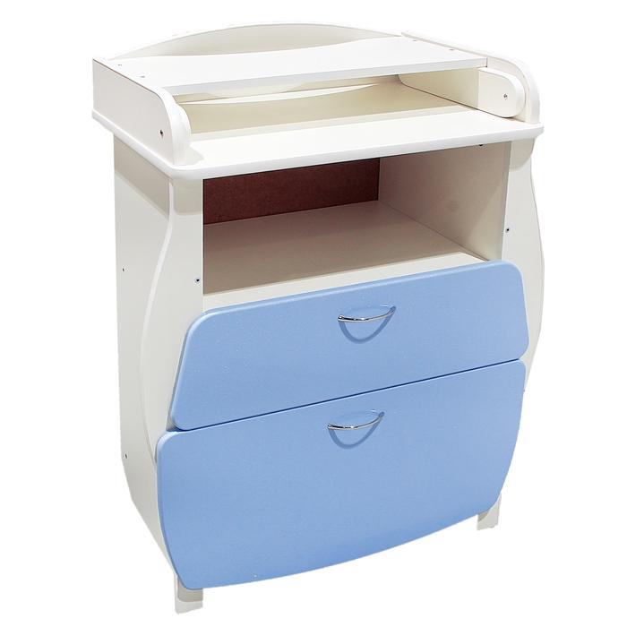 Комод детский пеленальный, 2 выдвижных ящика, цвет голубой