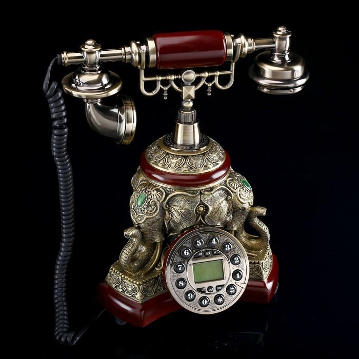 телефон ретро колонна, под дерево, вставка слоны, бронза 28*28см