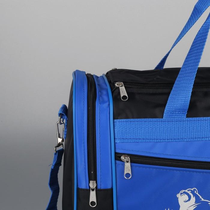 Сумка спортивная на молнии, 1 отдел, 3 наружных кармана, длинный ремень, рисунок МИКС, цвет чёрный/голубой