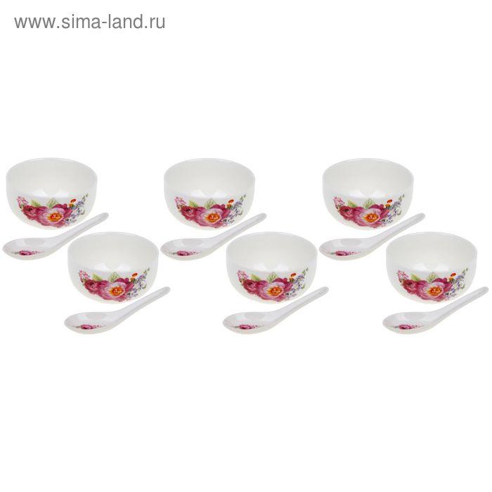 """Набор суповой """"Цветочное трио"""", 12 предметов: 6 пиал 350 мл, 6 ложек"""