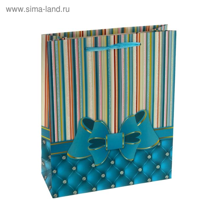 """Пакет ламинированный """"Бант"""", цвет синий"""