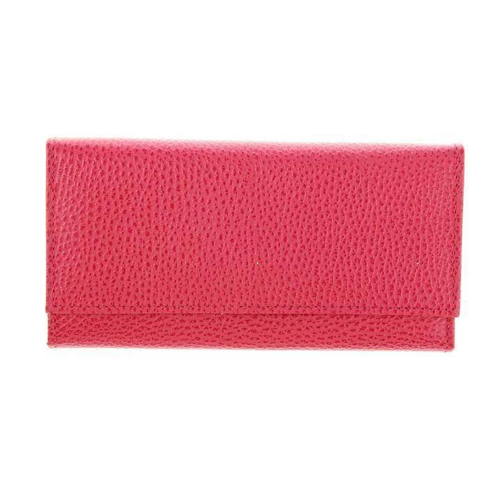Кошелёк женский на кнопке, 3 отдела для купюр, для монет, для кредитных карт, цвет розовый