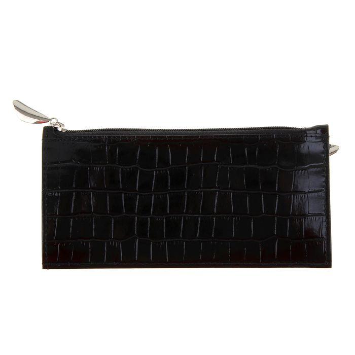 Кошелёк женский на молнии, 1 отдел для купюр, для кредитных карт, наружный карман, цвет чёрный