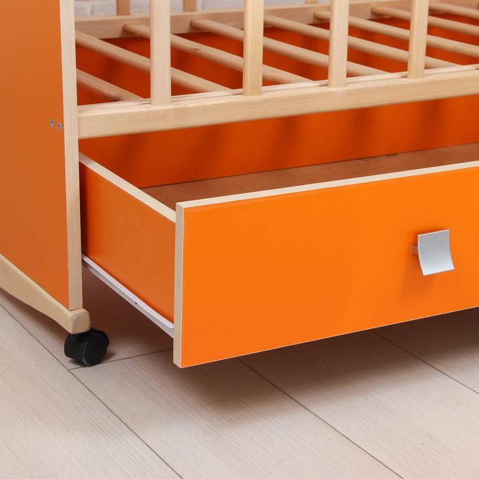 Детская кроватка «Садко» на колёсах или качалке, с ящиком, цвет оранжевый