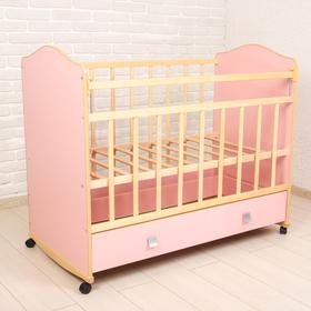 Детская кроватка «Морозко» на колёсах или качалке, с ящиком, цвет розовый