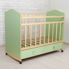 Детская кроватка «Морозко» на колёсах или качалке, с ящиком, цвет зелёный
