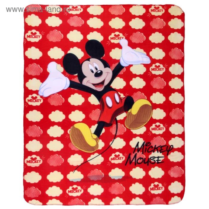 Плед Disney флисовый 130*160 см, Микки Маус красный горох (60603/10/5), 200 гр/м, 100% п/э