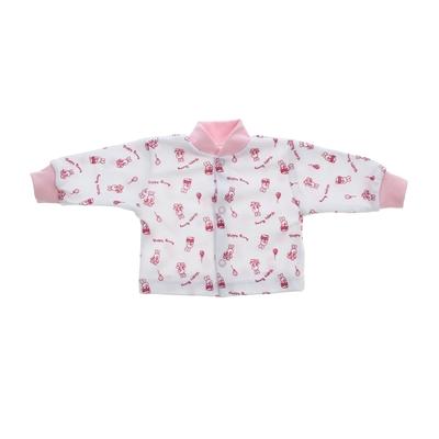 Кофточка с воротничком, интерлок-пенье, рост 80 см, цвет розовый