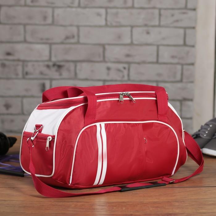 Сумка спортивная, 1 отдел, 3 наружных кармана, длинный ремень, цвет красный/белый