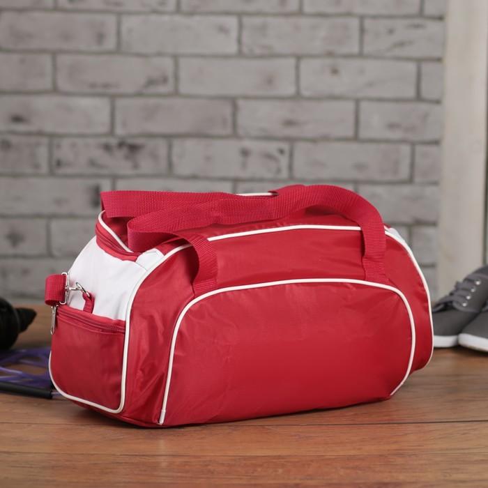 Сумка спортивная, 1 отдел, 3 наружных кармана, длинный ремень, красный/белый