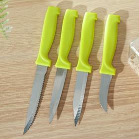 Набор кухонных ножей, 4 предмета, на подставке, разноцветный