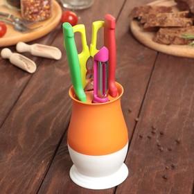 Набор кухонный, на подставке, 4 предмета, цвет МИКС