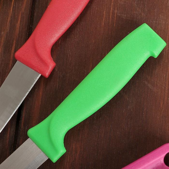 Набор на подставке, 4 предмета: 2 ножа, лезвия 9 см, ножницы, овощечистка, цвета МИКС