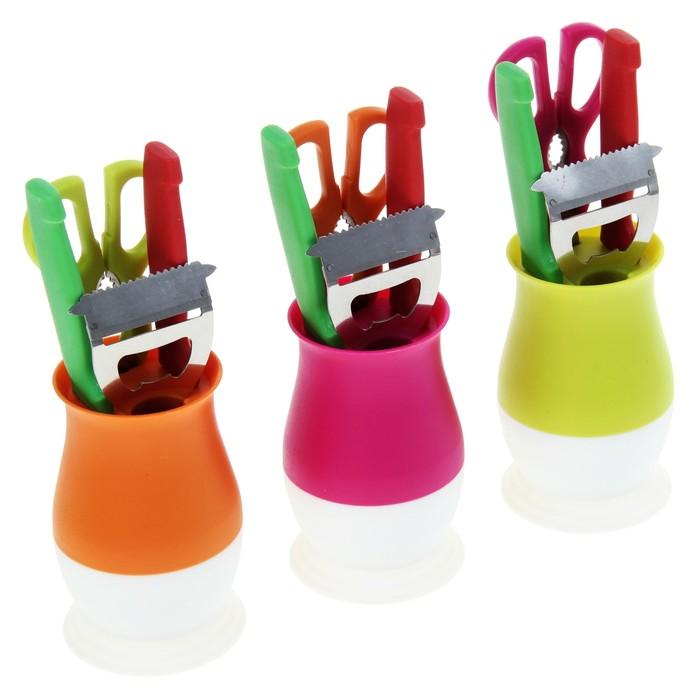 Набор кухонный на подставке, 4 предмета: 2 ножа, лезвия 9 см, овощечистка, ножницы, цвета МИКС