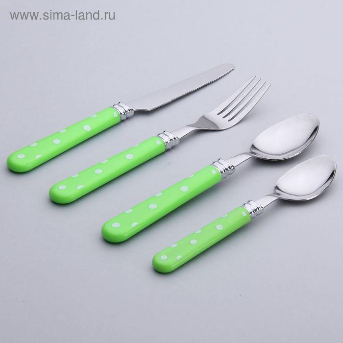 """Набор столовых приборов """"Горошек"""", 4 предмета, зеленый"""