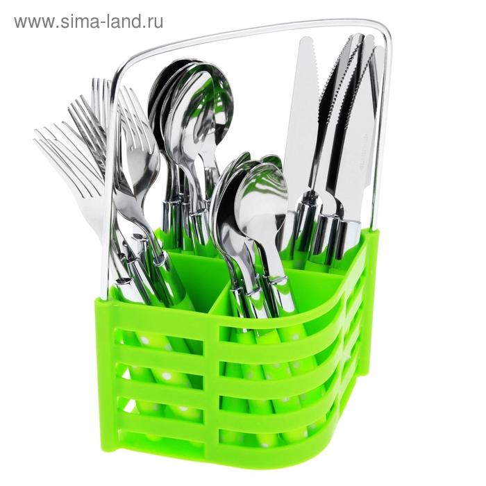 """Набор столовых приборов """"Горошек"""" на подставке, 24 предмета, зеленый"""