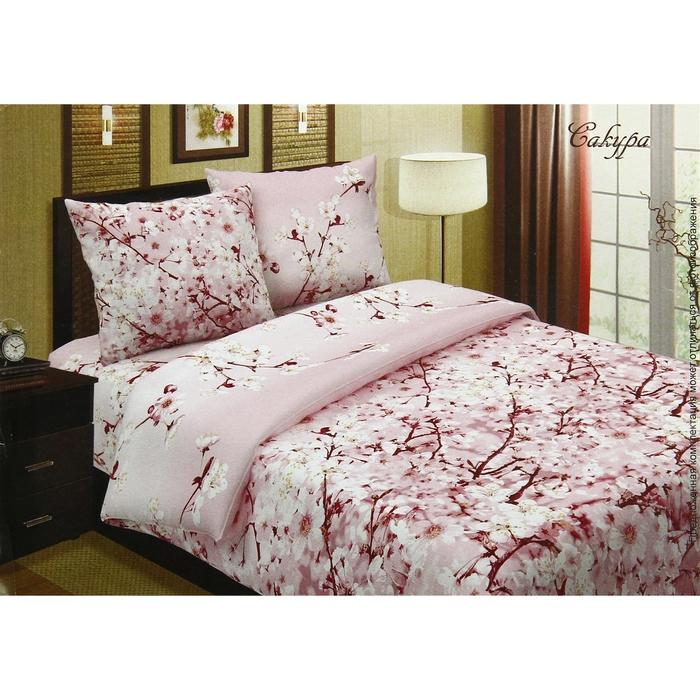 """Постельное бельё евро""""Pastel: Сакура"""", цвет розовый, 200х217, 220х240, 70х70см - 2 шт"""