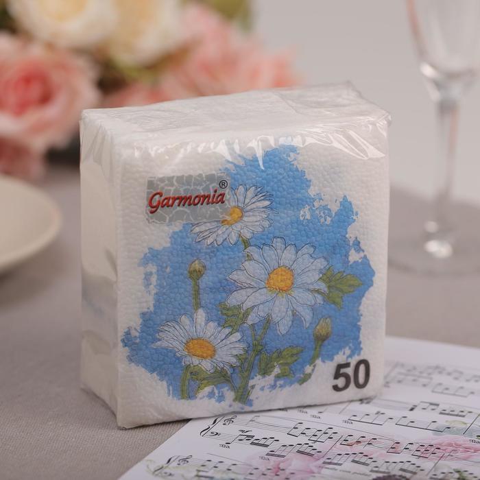 """Салфетки бумажные, Гармония цвета, многоцветие """"РОМАШКИ"""", 50 л"""