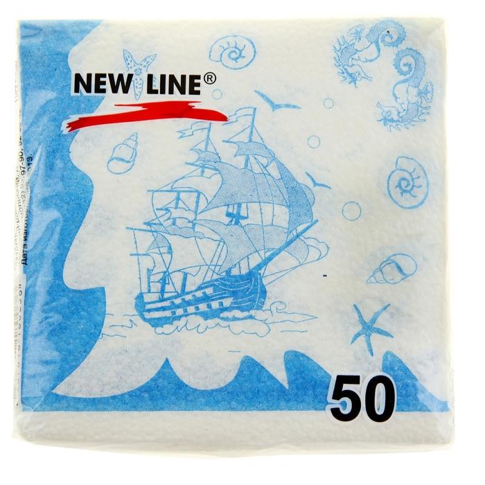 """Салфетки бумажные, Новая линия """"Кораблики"""" 50 л"""