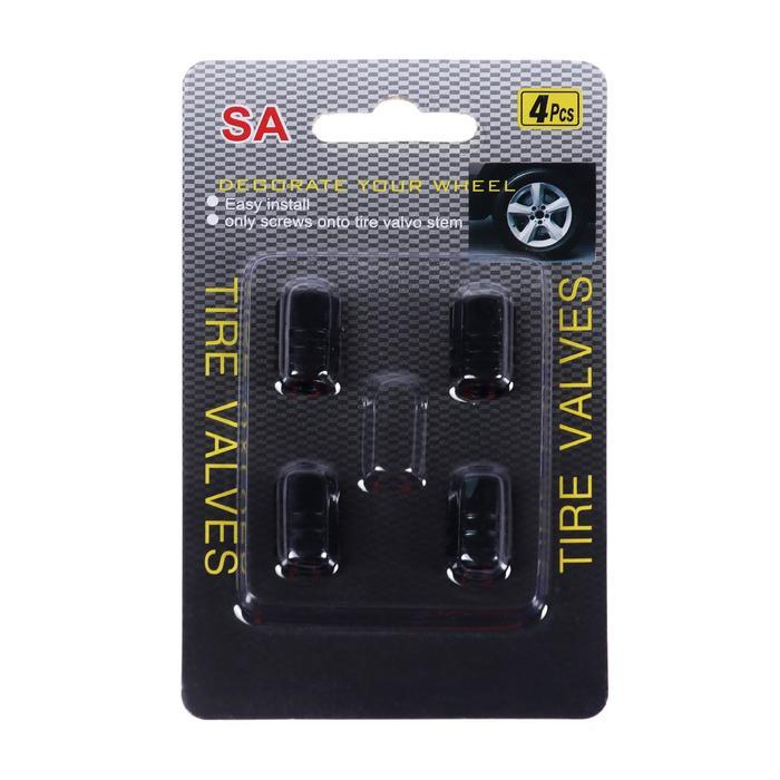 Колпачки на вентиль TORSO черные, набор 4 шт.