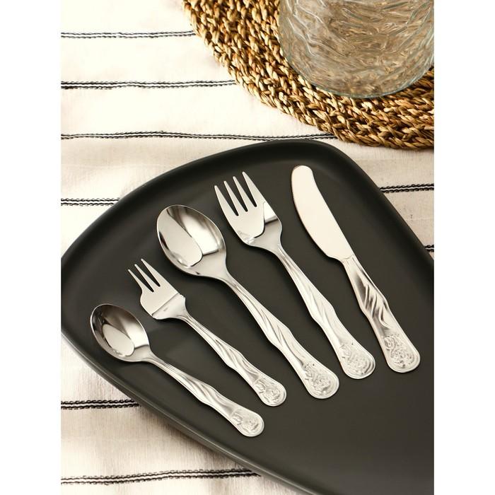 Набор столовых приборов «Лёвушка», 5 предметов, толщина 1,2 мм - фото 105462200