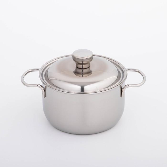 Кастрюля «Классика», 1,75 л, d=16 см, металлическая крышка, цвет серебристый - фото 308064560