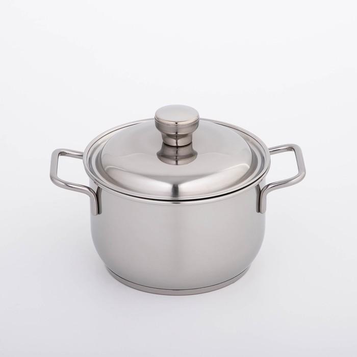 Кастрюля «Классика-прима», 1,75 л, d=16 см, металлическая крышка, цвет серебристый - фото 1578666