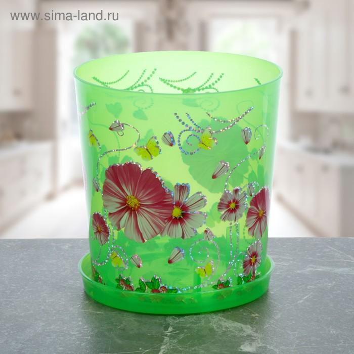 """Горшок для орхидей 1,8 л """"Камилла"""", поддон, прозрачно-зеленый"""