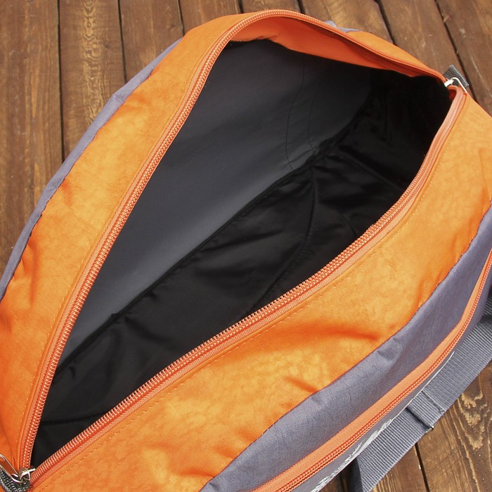 Сумка дорожная для фитнеса, 1 отдел, 1 наружный карман, серый/оранжевый