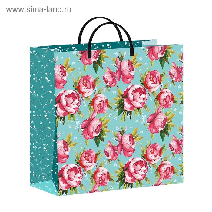 "Пакет ""Розовые пионы"", мягкий пластик, 30х30 см, 140 мкм"