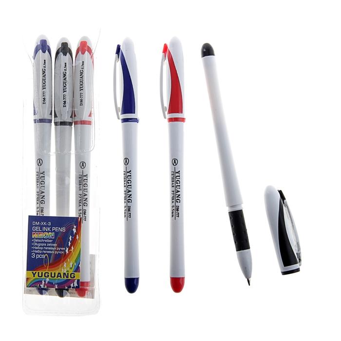 Набор гелевых ручек 3цв. корпус белый с цветными вставками