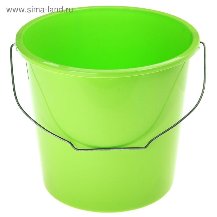 Ведро без крышки с металлической ручкой, 10 литров, зеленое