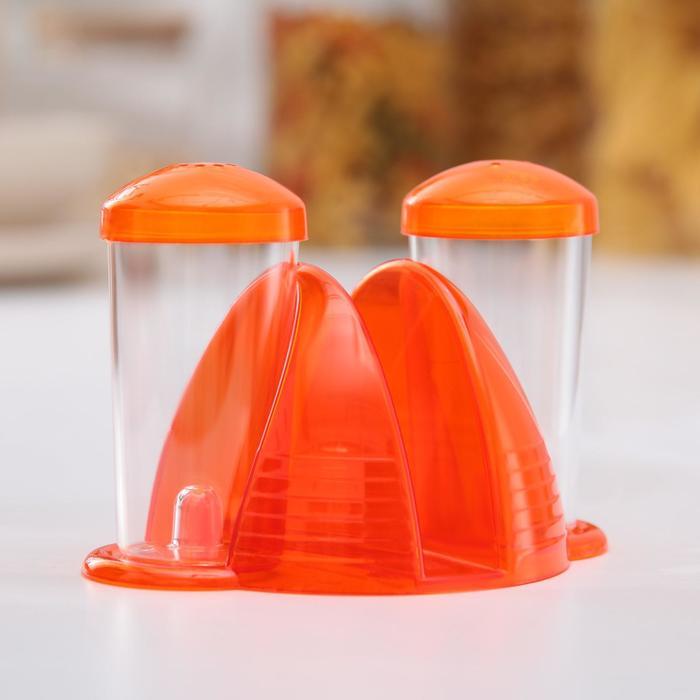 Набор для специй с салфетницей «Fresh», 2 шт: солонка, перечница , цвет оранжевый