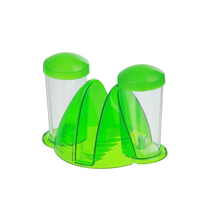 """Набор для специй """"Фреш"""", 2 предмета на подставке с салфетницей, цвет зеленое яблоко"""