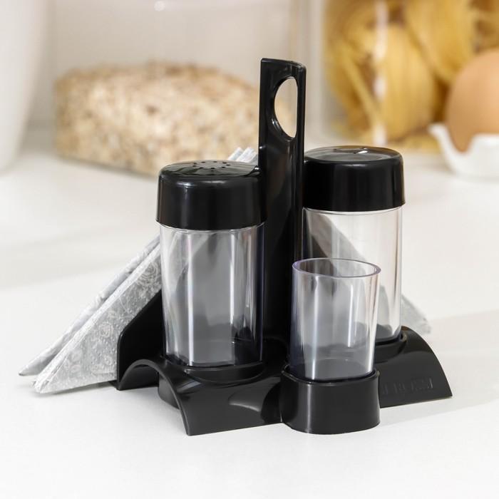 """Набор для специй """"Рондо. Презент"""", 3 предмета на подставке с салфетницей, цвет черный"""