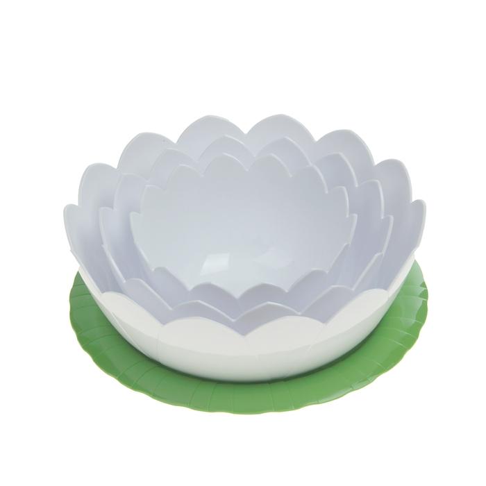 "Набор салатников ""Лотос"", 4 шт: тарелка 22 см, салатники 0,6 л, 1,2 л, 2 л"