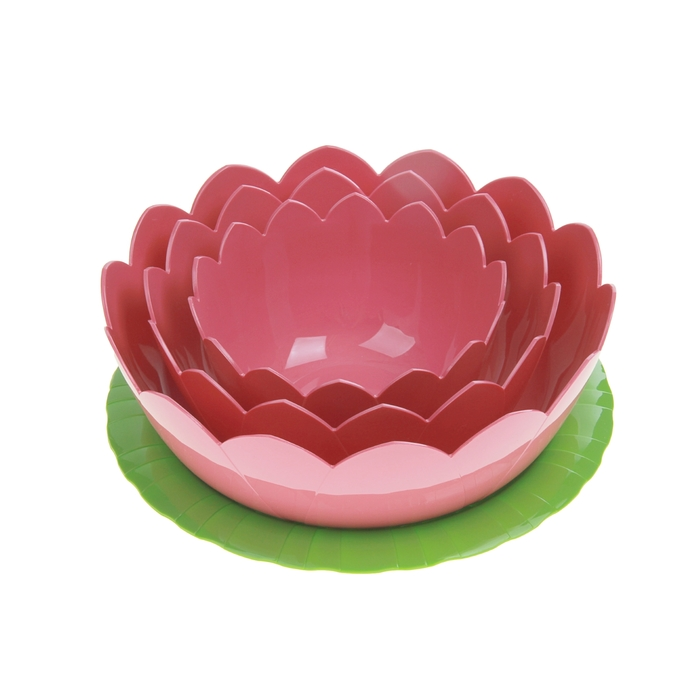 """Набор салатников """"Фламинго"""", 4 шт: тарелка 22 см, салатники 600 мл, 1,2 л, 2 л"""