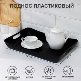 Поднос пластиковый с ручками 42,2×28,2×5,2 см «Рондо», цвет черный
