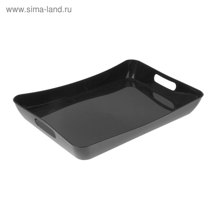 """Поднос пластиковый с ручками 42,2×28,2×5,2 см """"Рондо"""", цвет черный"""