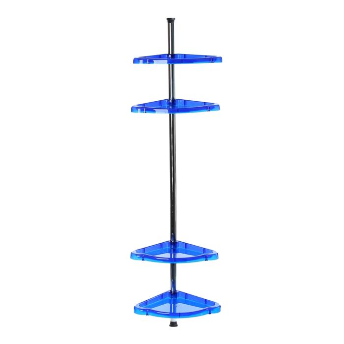 """Полка угловая распорная """"Стелла"""" (высота 260 см ±10), синяя полупрозрачная"""