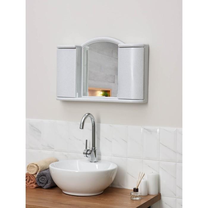 "Шкафчик зеркальный для ванной комнаты ""Арго"", цвет белый мрамор"