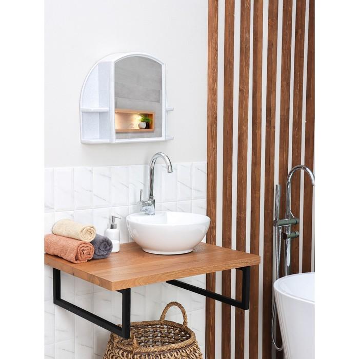 "Шкафчик для ванной комнаты c зеркалом ""Орион"", цвет белый мрамор"