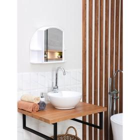 Шкафчик для ванной комнаты с зеркалом 'Орион', цвет снежно-белый Ош