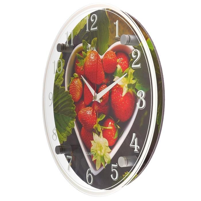 """Часы настенные круглые """"Клубника"""" 30х30 см микс"""